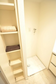リシェ五反田スカイビュー 洗濯機置場と収納棚
