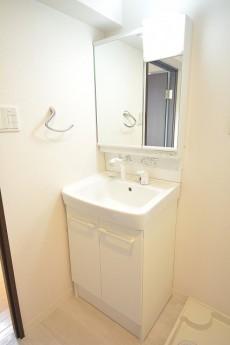 鏡の裏が収納になっている洗面化粧台