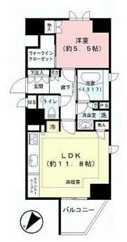 リシェ五反田スカイビュー 間取りは1LDK