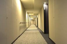 ホテルライクな絨毯敷きの内廊下。