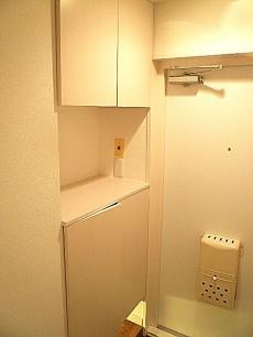 渋谷コーポラス カウンター付き玄関収納。