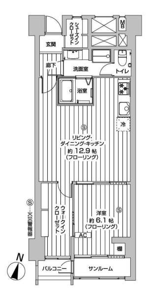山王スカイマンション 間取り1LDK