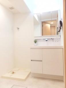 朝日江戸川橋マンション 洗面化粧台と洗濯機置場