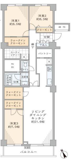 小田急目白台マンション 間取り図