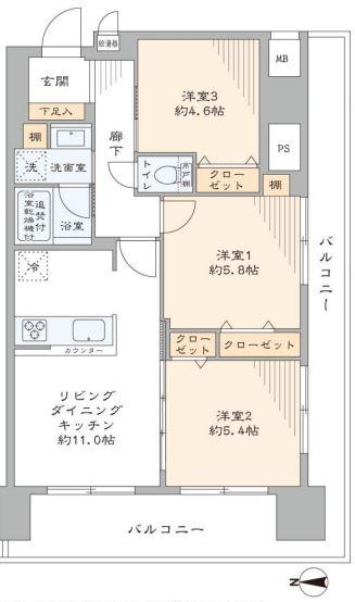 日商岩井豪徳寺マンション 間取り図