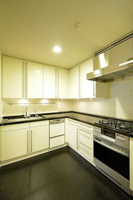 松濤アパートメント_L字のキッチン
