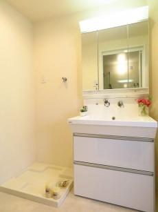 都立大イーストハイツ 洗濯機置場と洗面化粧台