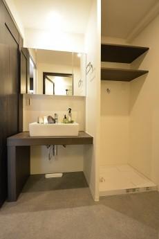 クレール島津山 洗面化粧台と洗濯機置場