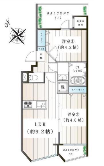 四谷軒第5経堂シティコーポ 間取り図