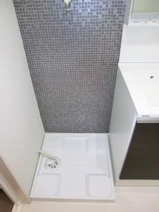 洗面化粧台の横は洗濯機置き場