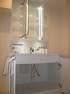 三面鏡の洗面化粧台 収納