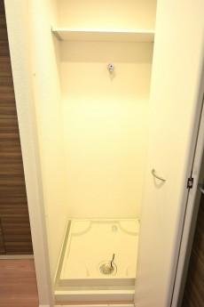 三田富洋ハイツ 上に棚のある洗濯機置場
