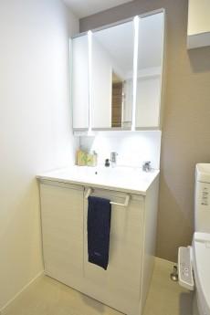 三田富洋ハイツ 鏡の間にライトがついた洗面化粧台