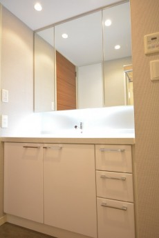 大崎南パークハウス 3面鏡の洗面化粧台