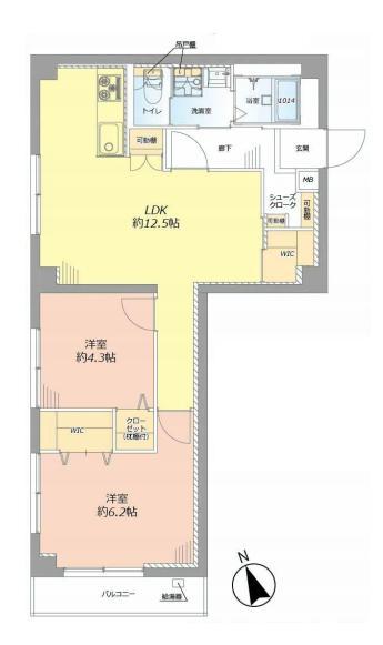 東中野マンション 6階間取り