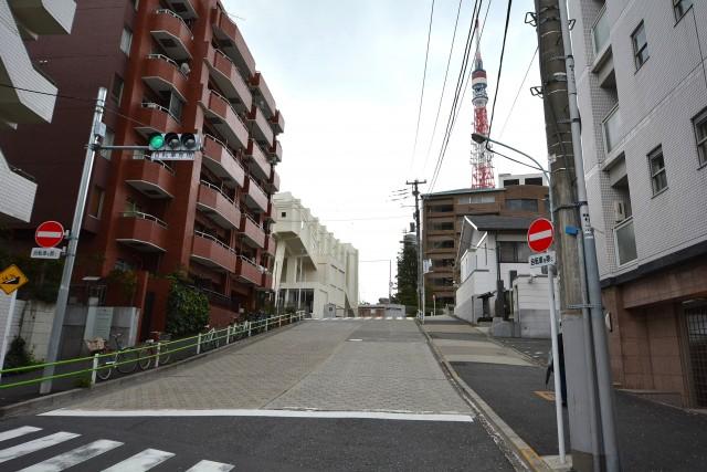 東武ハイライン第2芝虎ノ門 坂道から東京タワー