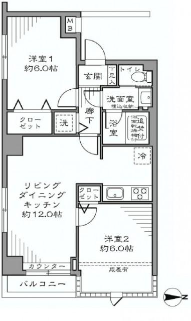 太子堂パレス 202間取図