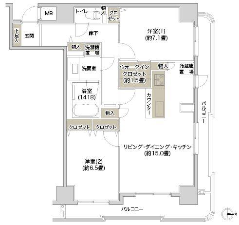 デュオリスタ錦糸町 間取り806