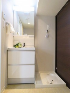 六本木ハイツ 洗面化粧台と洗濯機置場
