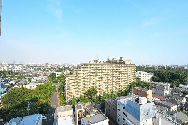 ライオンズマンション駒沢 13.6帖LDK側のバルコニー眺望