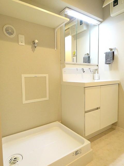 日商岩井第2玉川台マンション 洗濯機置場と洗面化粧台