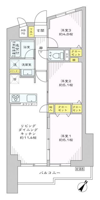 シャンボール小石川505 間取り図