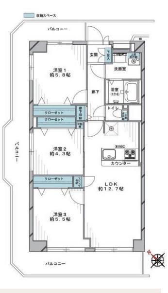 ネオコーポ芦花公園 間取り図