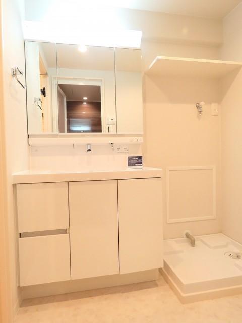 多摩川芙蓉ハイツ 洗面化粧台と洗濯機置場