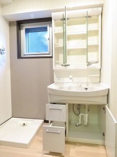 玉川台スカイマンション 洗濯機置場と洗面化粧台