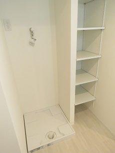 瀬田サンケイハウス 洗濯機置場と収納棚