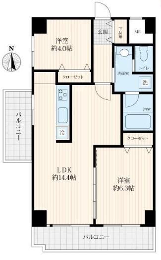 飯田橋第一パークファミリア2階 間取り図